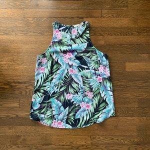 Sleeveless Tropical Print Blouse